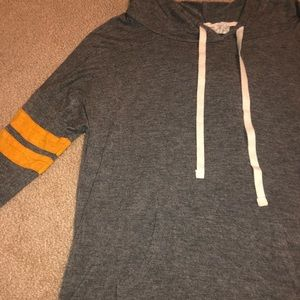 Grey and Yellow striped hoodie